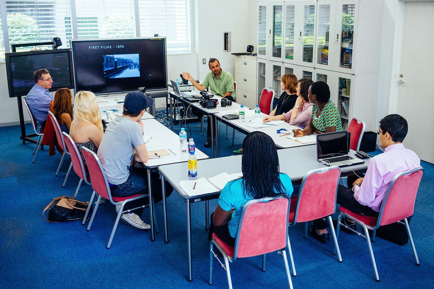 Luis teaching a class