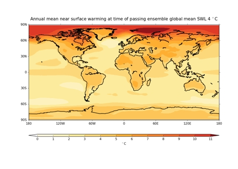 Figure 1: Annual mean regional temperatures at 4°C global average surface temperature warming (CMIP5 ensemble mean). Courtesy Richard Betts/ HELIX project.