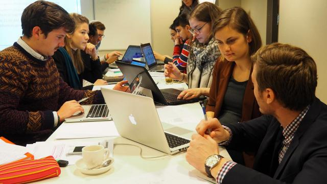 Students busy at work for the simulation project
