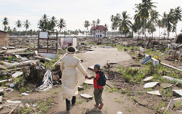 A woman and child in the aftermath of the tsunami in Indonesia