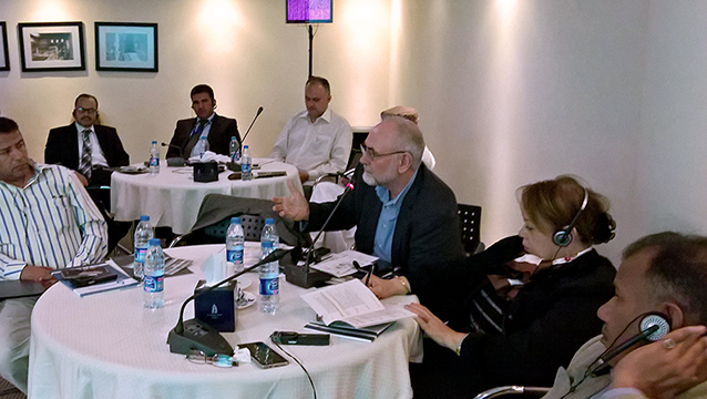Mr Rüdiger Heidebrecht (DWA) participates in workshop discussions on wastewater use. (Image: Sarah Awamleh/ACWUA)
