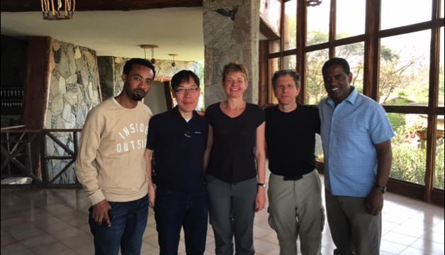 From left: Sileshi Degefa (UNU-IAS's Ph.D. student), Dr. Osamu  Saito, Prof. Maria Ivanova, Prof. David Cash (Dean, McCormack Graduate School, UMass Boston), and Dr. Adugna Lemi (UMass Boston)