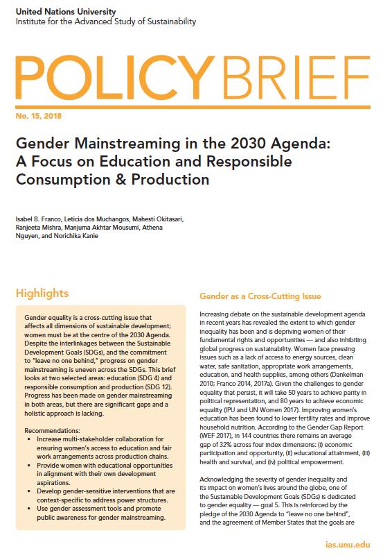 UNU-IAS Policy Brief No. 15, 2018