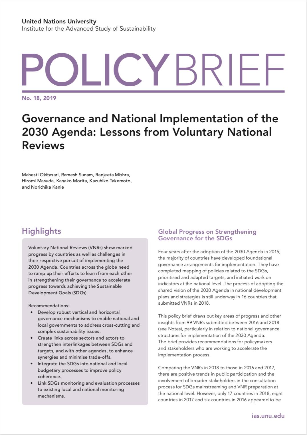 UNU-IAS Policy Brief No. 18, 2019