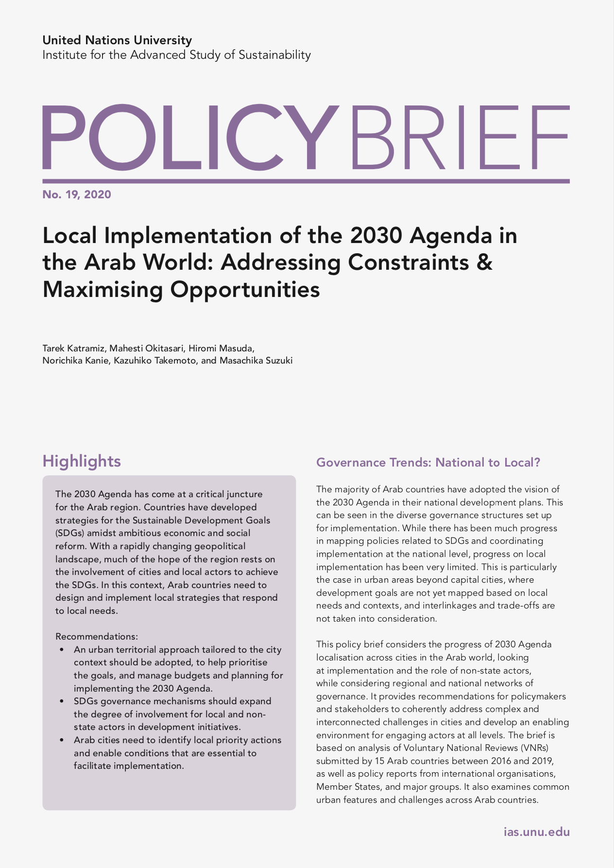 UNU-IAS Policy Brief No. 18, 2019