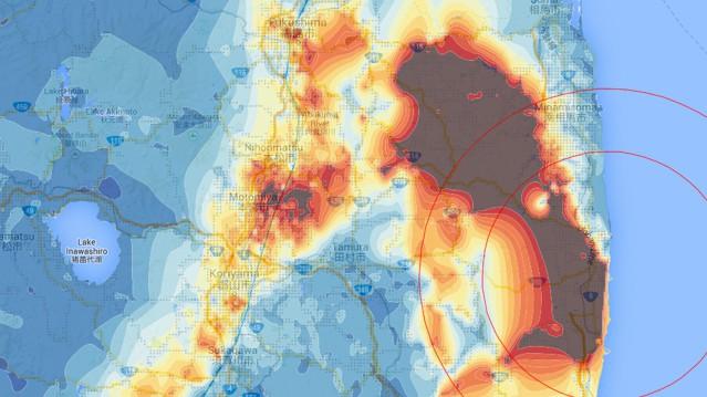 Radiation data: Safecast. Map data: Google, ZENRIN