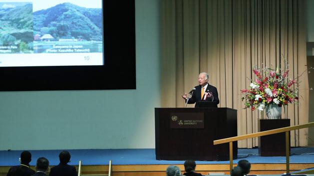 基調講演する、武内和彦UNU-IAS上級客員教授 /Photo: UNU-IAS