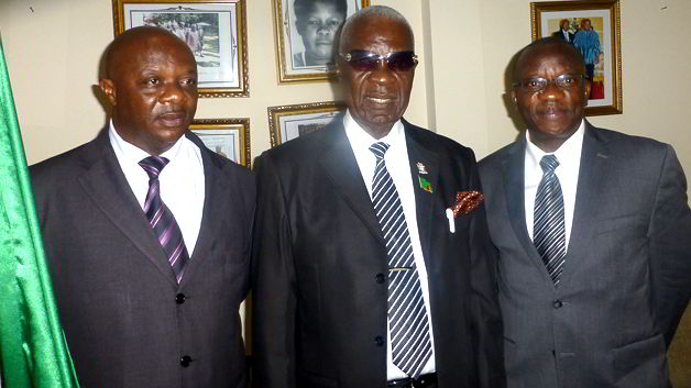 H.E Timothy Mwaba Walamba, Zambia High Commissioner (Middle), on his left is Dr. Elias T. Ayuk, UNU-INRA Director and Fidelis Chisenga, First Secretary Administration of the High Commission on his right.