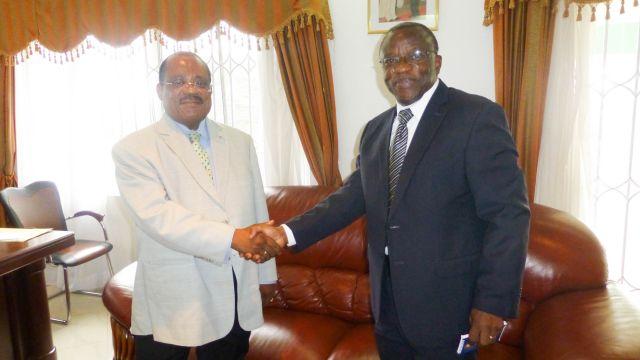 H.E Jesus Mba Bela Abaha, Ambassador of Equatorial Guinea (left) and Dr Elias T. Ayuk, Director of UNU-INRA (right)