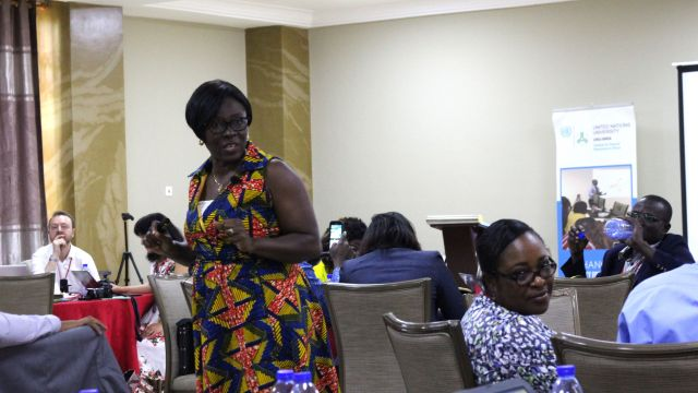 Mary Ama Kudom-Agyemang, a resource person, facilitating a session