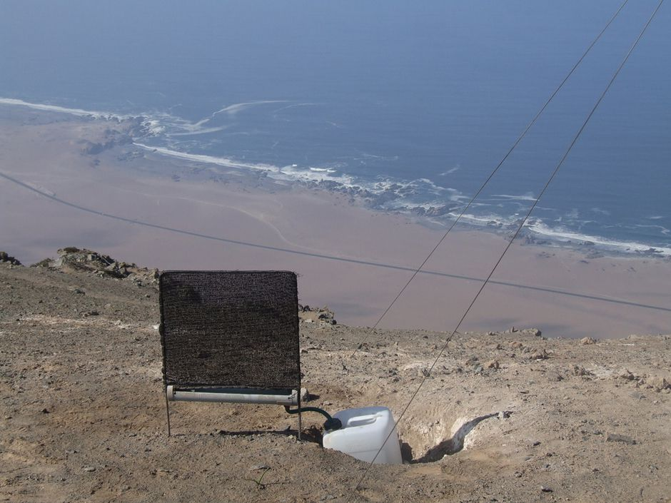 Small fog catcher on he coast of the Alto Patache section of Chile's Atacama Desert.