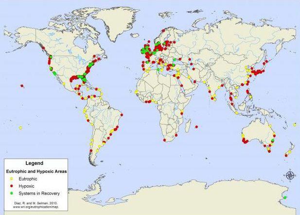 Fig 4b World hypoxic and eutrophic coastal areas
