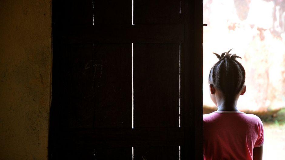 Liberian girl in doorway