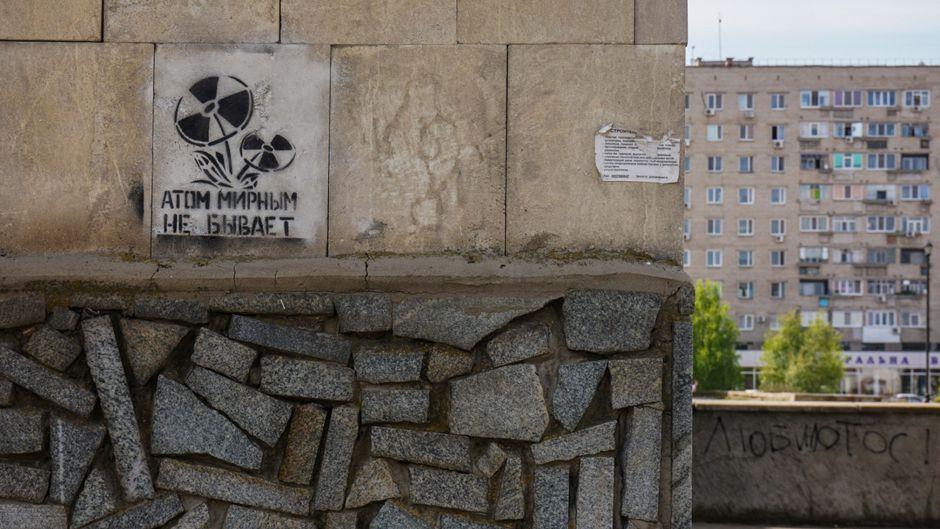 Graffiti in Energodar town close to the Zaporizhia plant