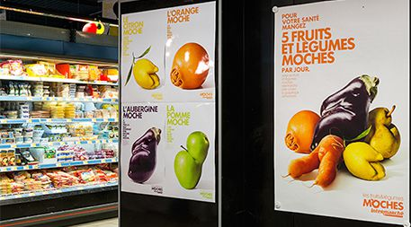 "In an effort to help reduce food waste, French supermarket chain Intermarché sold imperfect fruits and vegetables for a discount, and launched an in-store and media campaign called ""inglorious fruits and vegetables."" The effort was meant ""to rehabilitate and glorify"" the odd-looking foods. Photo courtesy of Marcel Worldwide."