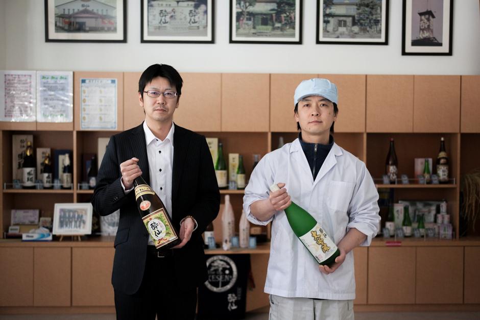 Yasuaki Konno, right, director of brewing at Suisen Shuzo, with general director Yuki Murakami. Photograph © Kazuma Obara/The Guardian