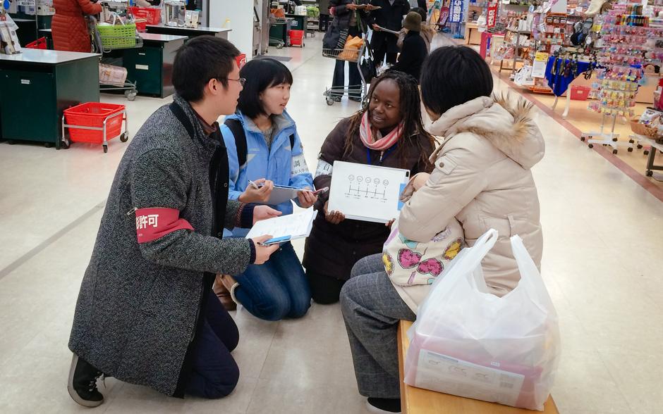 Customer interview at Aeon Supermarket in Gojome
