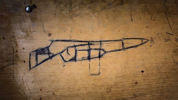 A gun drawn on a school desk in Northern Iraq, 2016. From: Hijacked Education, Diego Ibarra Sánchez