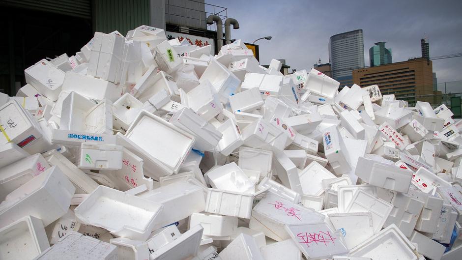 Huge pile of polystyrene waste at Tokyo's Tsukiji Fish Market