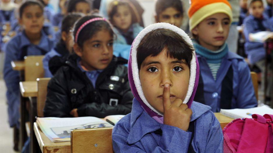 classroom at Zaatri refugee camp