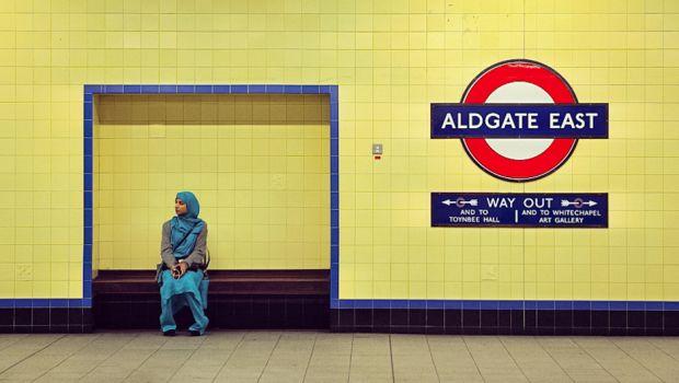 Muslim woman at Aldgate Station, London