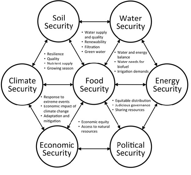 Figure 1: The interdependence of food security on security of natural resources, and economic and political security