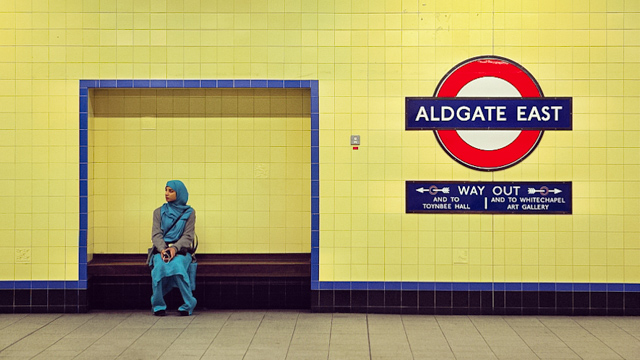 Muslim woman at Aldgate Station, London