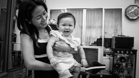 Nguyen Thi Diem Chi and her daughter Nguyen Lam Gia Lac at their house in Ho Chi Minh City.