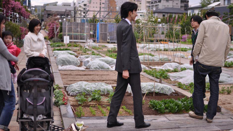 Even salary men are getting into the urban farming groove. Photo: Alva Lim.