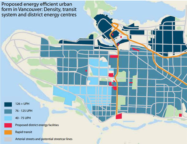 A plan for Vancouver that would provide district heating for the city while reducing transportation demand. Density is increased through gentle infill in all existing neighbourhoods, resulting in an energy use profile similar to that of Copenhagen by 2050.