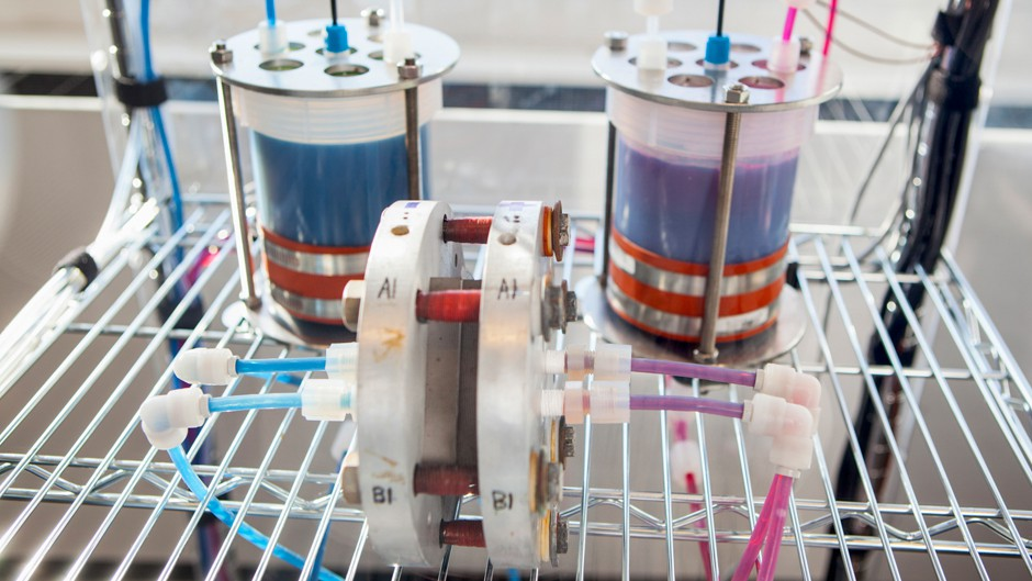 A prototype flow battery in Dr. Michael J. Aziz's lab at the Harvard School of Engineering and Applied Sciences.